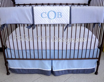 Bumper-free Gray, White & Baby Blue Bedding: Cob features Gray/White Seersucker on the Teething Rail Guard