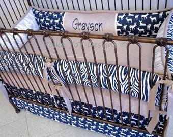 Deer Point Baby Bedding Set Taupe & Navy Deer and Arrows for Baby Boy