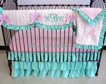 Girly Mint & Pink Bumperless Baby Bedding with lots of ruffles: Linen and Faux Silk- Brianne Crib Set