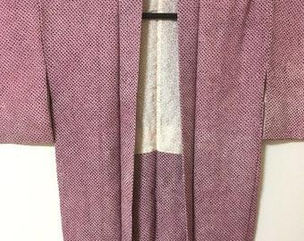 Vintage silk Japanese Haori, Kimono, Kimono jacket, kimono coat, pink haori, orange shibori, frolal