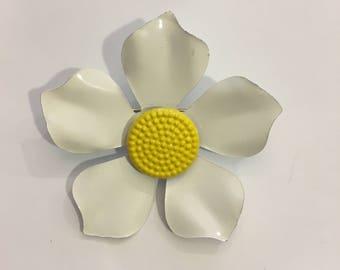 Vintage white and yellow enamel flower pin