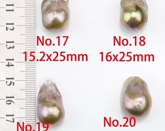 No.17-24,15-20mm large pearl pendant,natural metallic color large baroque pearls loose for pendant,special color,No hole,half drilled hole