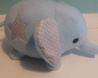 Elephant stuffie, soft toy, blue, star, CE marked, plush