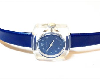 Buler Ladies Watch Wind Up Clear Acrylic Case Blue Dial and Band