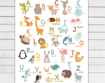 Alphabet wall art Alphabet animals Alphabet art Alphabet poster Alphabet wall decal ABC poster Nursery decor Digital PRINTABLE download 8x10
