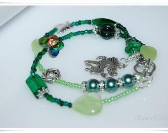 Bracelet spring Wrap Bracelet green bohemian crystal wrap