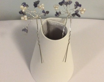 Bridal hair pins made with Tanzanite & freshwater
