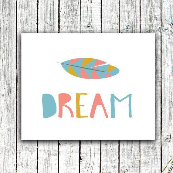 Kid's Art Printable, Dream, Gender Neutral, Colorful, Feather, Digital Download Size 8x10 #624