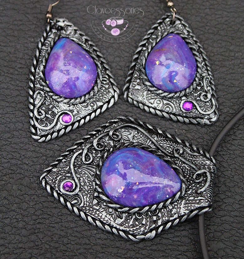 Amethyst Jewelry / Polymer clay jewelry / Amethyst silver pendant / Amethyst silver earrings / Bohemian jewelry / Purple jewelry set