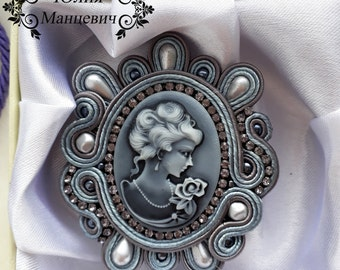 soutache brooch cameo brooch lady
