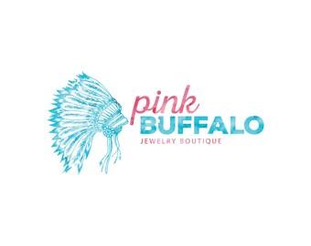Custom Logo, Native American Logo, Premade Logo, Logo Design, Business Branding, Logo, Headdress Logo, Boho Logo