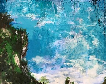 "11"" x 14"" Original Cliff Acrylic Painting"