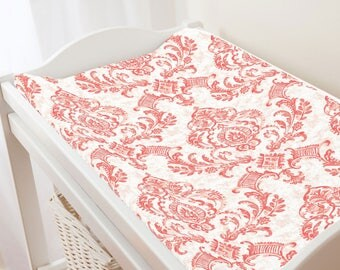 Carousel Designs Coral Painted Damask Changing Pad Cover