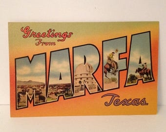 ON SALE Vintage Linen Postcard Greetings from Marfa Texas WWII Era Souvenir 1940's