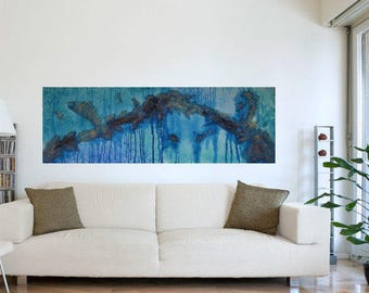 Modern Artwork Canvas Art ABSTRACT WALL ART Fine 20x60 Teal Turquoise Painting Blue