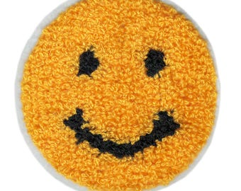 Cute Vintage Style Chenille Yellow Smiley Face Smile Patch Badge cm