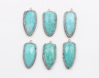 Amazonite Pendant -- Wholesale With Pave CZ Diamond Zircon Edge Wholesale Supplies Charms YHA-044