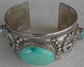 Vintage  crafted sterling silver wide cuff bracelet, sleeping beauty turquoises