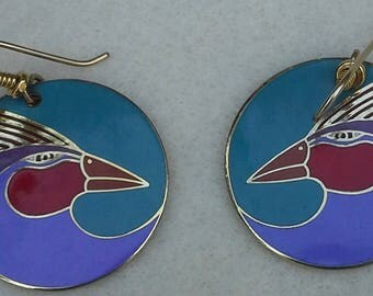 "Laurel Burch, dangle, round  earrings "" Harlequin Bird"" gold tone & enamel"