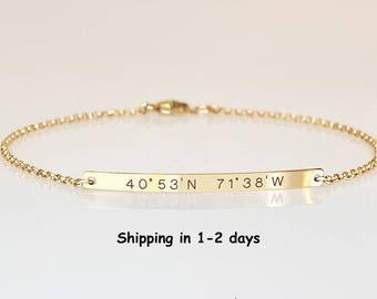 Reversible Coordinates bracelet Longitude Latitude Bracelet Personalized Bar Bracelet Customized Name, Engraved  Date bracelet Bridesmaids