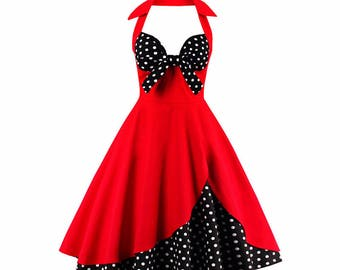 Red Polka Dot Vintage Summer Dress Mid Calf