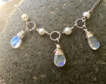 Rainbow Moonstone necklace, rainbow moonstone and sterling silver necklace, rainbow moonstone sterling and pearl necklace