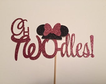 oh TWO-dles minnie mouse cake topper, disney party, Birthday Party, Photo Shoot, Oh Toodles Black & Pink Black and red boy girl