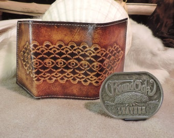 Handmade Tradititional tooled mans Tri fold wallet