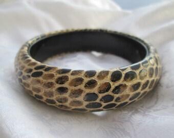 Vintage 1980's Leather Imitation Snakeskin Embossed Bangle Bracelet Brown Tan Excellent Condition