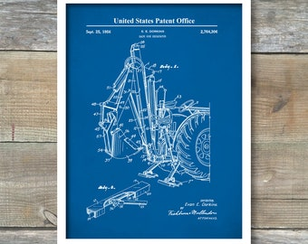 Patent Print, Back Hoe,  Patent Art Print, Farmhouse, Farming Patent Poster, Farmer Art, Back Hoe Print, Farm Decor, P492