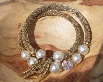 Vintage Bracelet, Gold Mesh Bracelet With Tassels Pearls and AB Crystals, Memory Wire Bracelet, Wrap Around Bracelet, Vintage Jewelry