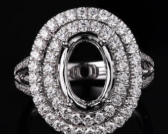 oval  Wedding ring/Engagement Ring/Semi mount/Big ringFYR-08075