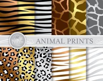 "Metallic ANIMAL PRINTS Digital Paper Pattern Prints, Instant Download, 12"" x 12"" Patterns Backgrounds Scrapbook Print"