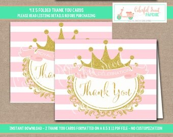INSTANT DOWNLOAD, Printable Princess Baby Shower Thank You Card, Baby Shower Thank You Cards, Princess Thank You cards, Thank you, #0018