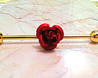 Red Rose Flower Industrial Scaffold Ear Barbell 35mm 14g Gold Plated over Surgical Steel
