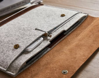 "NEW 2016 MacBook Pro 15"" case 15 inch MacBook leather case  Leather MacBook case Natural wool felt MacBook case Laptop lether felt sleeve"