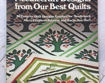 Vintage Needlecraft Designs from our Best Quilts-1983-Quilt Designs Graphed For Needlepoint-Oxmoor House-Quilt Blocks-Calico Bouquet