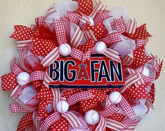 Angels Deco Mesh Baseball Wreath