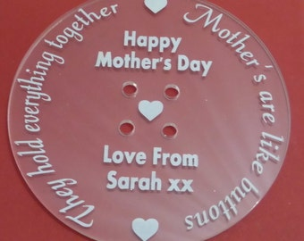 Large Button Mother's Day Gift/ Personalised Mum Gift/Personalised Mother's Day/Gift for Mum/ Gift for sewing/Sewing Gift/Mum Gift