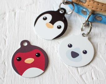 Winter Animals Pet Id Tag – personalised robin polar bear  penguin  name tag – gifts for dogs – personalized dog ID tag - P148