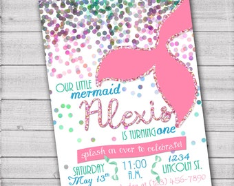 Our Little Mermaid Birthday Party Invitation - 5x7 - Printable PDF & JPG