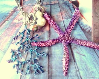 Starfish and Coral Necklace, Sea Life Jewelry, Beach Jewelry, Seashore Jewelry, Starfish Necklace, Metal Beach Jewelry, Starfish Necklace