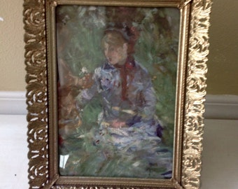 Berthe Morisot Picture in vintage frame....impressionist print.....goldtone filigree frame