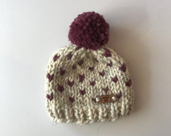 DOT FAIR ISLE //  Wheat + Fig Baby hat with pom