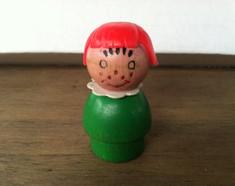 fisher price little people - wood green girl with freckles, red hair