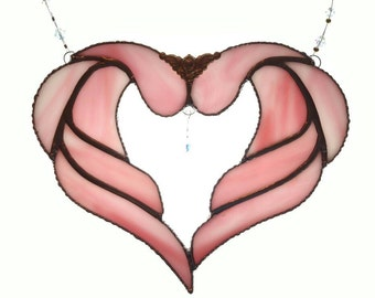 Stained glass heart wings, Pink stained glass heart wings, with crystal , suncatcher