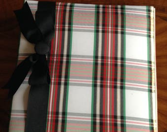 Silky Plaid Fabric Covered Photo Album Finished with Coordinating Black Ribbon.  Red-Green-Black Plaid Fabric