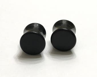 10mm (00g) Solid Black Plugs - Gauges - Stretched Ears - Double Flare Plugs