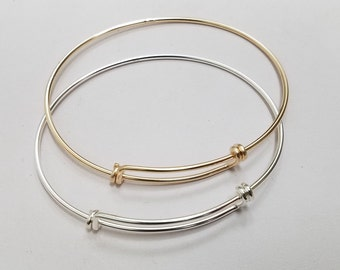 Sterling Silver Or Gold Filled Adjustable Bangle, Small Size, 7 inches to 8.5 inches.
