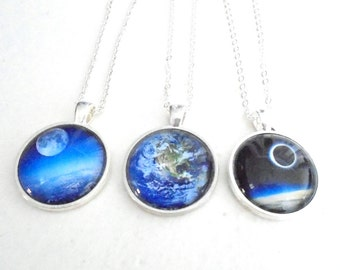 """Mother Earth Necklace, Cosmos Necklace, Space Necklace, Galaxy Jewelry (1"""" 25mm)"""